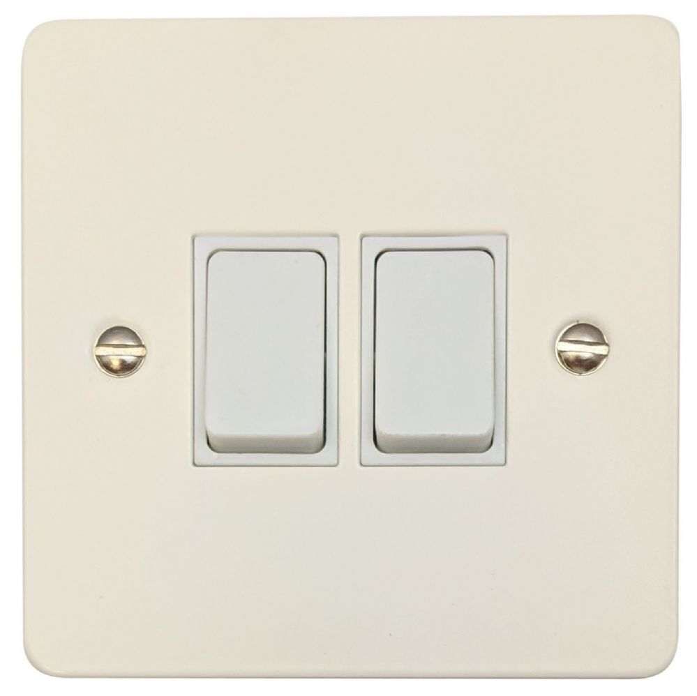 G&H FW2W Flat Plate Matt White 2 Gang 1 or 2 Way Rocker Light Switch